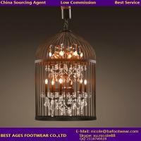 Wholesale Vintage Industrial Pendant Light Bird Cage With Crystal Chandelier Loft Decorative Hanging Pendant Light from china suppliers