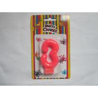 China Pink Number Three Birthday Candle 19.3g Glittering Paraffin Wax For Party wholesale