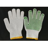 Wholesale Polyester Knitted Safety Hand Gloves ,  Knit Work Gloves Green PVC Dotted Grips from china suppliers