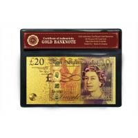 Wholesale Color 24K Gold Banknote 20 Pound Banknote with COA Frame Best For Souvenir Gift from china suppliers