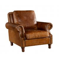 Retro Brown High Back Leather Armchair Hard Solidwood Frame American Style