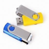 Wholesale USB Flash Drives in Swivel Design, Made of Metal Material, Laser Engraving or Color Print from china suppliers