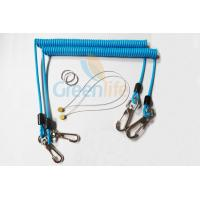 Wholesale Sky Blue Stopdrop Plastic Coil Lanyard 18CM With Zinc Alloy Hooks from china suppliers