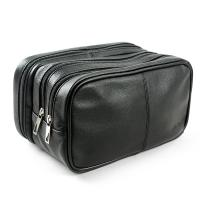 Wholesale Genuine Leather Toiletry Bag Grooming Shaving Accessory Dopp Kit Portable Travel Organizer with Three-layered from china suppliers