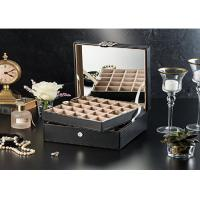 Wholesale 2 Layers Luxury Black Leather Cufflink Display Case , Empty Cufflink Boxes from china suppliers