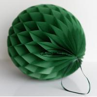 Wholesale Dark Green Tissue Paper Honeycomb Balls Pom Poms With Satin Ribbon Loop from china suppliers