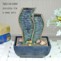 Wholesale Green Polyresin Water Fountain Tabletop Waterfall Fountain With Natural Pebble from china suppliers