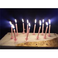 Wholesale Candy Stripes Spiral Birthday Candles Pink Paraffin Wax With 20 pcs Holders from china suppliers