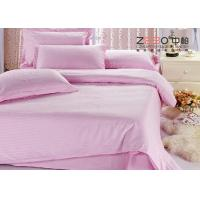 Quality Luxury 250TC Colorful School Hotel Bedding Sets Queen Size Plain Stripe Design for sale
