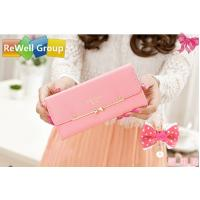 Wholesale Lovely Pink Soft Surface PU Long Leather Wallets For Women , Students from china suppliers