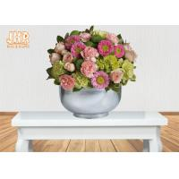 Wholesale Cup Shape Silver Leafed Fiberglass Flower Pots , Fiberglass Flower Bowls from china suppliers