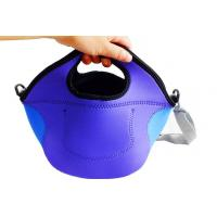 Wholesale picnic time insulated neoprene plain lunch box with firm handle and cross-shoulder stap from china suppliers