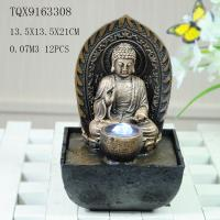 Buddha Polyresin Water Fountain With Ball And Led Color Light 13.5 X 13.5 X 21 Cm
