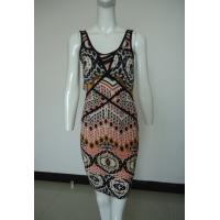 Tribal Printing Going Out Maxi Dresses , Black Piping Womens Casual Tank Dresses