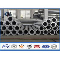 Low Voltage 9m davit arm transmission pole , tapered steel pole 2.5 mm - 30 mm Thickness