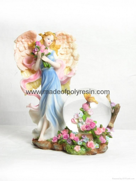 Quality polyresin/polystone flower fairy waterball for sale