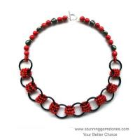 Wholesale Natural Red Coral & Onyx Necklace