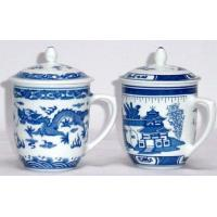 China mug with cover -blue dragon/blue willow wholesale