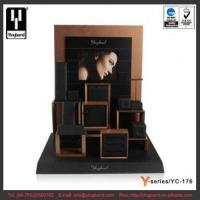 China Cube Box Stacking Rose Gold MDF Frame Black PU Leahter Inner Jewelry Display wholesale