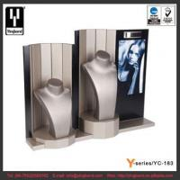 China Latest Display Stand Two Mannequin Necklace Display Bust Stand PU MDF Jewelry Display Set wholesale