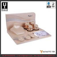 Wholesale Champagne Color Wooden PU Jewelry Display Set Beautiful Design for Necklace Earring Ring from china suppliers