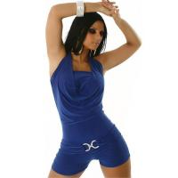 Blue Sleeveless Short Jumpsuit with Halter Style Neckline and CC Buckle below Waist