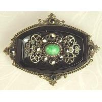 Wholesale Unsi Lovely Antique Black Glass and Filigree Pin from china suppliers