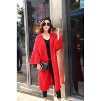 2017 autumn Latest design cashmere knitted long women cardigan for ladies