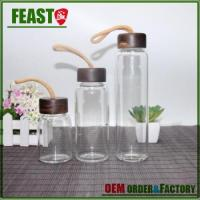 Wholesale Feast water bottle glass borosilicate with walnut lid joyshaker sport drinking from china suppliers