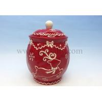Wholesale C0126 Ceramic Christmas Reindeer Cookie Jar from china suppliers