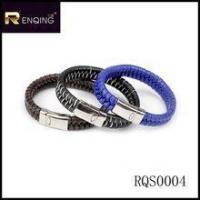 China factory 316L stainless steel jewelry with Leather bracelet in hot sale