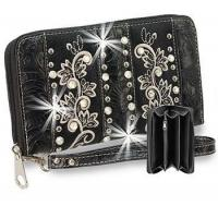 Rhinestone and Embroidery Accented Accordion Wristlet Wallet