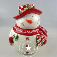Christmas Ceramic Wholesale Christmas Snow Man Ceramic Canister Factory