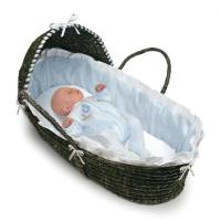 Wholesale Espresso Hooded Moses Baby Basket with Blue Gingham Bedding from china suppliers