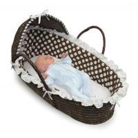 Wholesale Espresso Hooded Moses Basket Brown Polka Dot Bedding from china suppliers