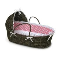 Wholesale Espresso Moses Baby Basket with Hood Pink Polka Dot Bedding from china suppliers