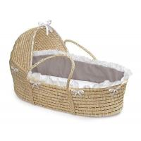 Wholesale Natural Hooded Moses Basket with Gray and White Bedding from china suppliers