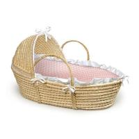 Wholesale Natural Hooded Moses Baby Basket with Pink Gingham Bedding from china suppliers