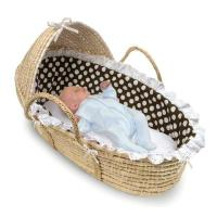 Wholesale Natural Hooded Moses Basket with Brown Polka Dot Bedding from china suppliers