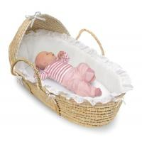 Wholesale Natural Wicker Moses Baby Basket with Hood and White Bedding from china suppliers