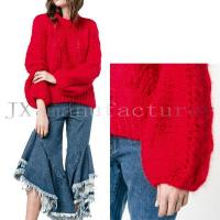 Red Mohair Wool Blend Puff Sleeve Sweater JX20170011S