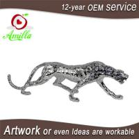 Silver Polyresin Figurine Leopard Ornament and Panther Sculpture Home Decorations