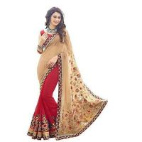 georgette red cream colour zari embroidery work with lace border saree