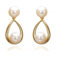 7mm AAA Round Pearl Earrings in 18K Solid Gold