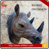 Wholesale Animal Statues Artificial 3D polyresin wall art rhinoceros decoration from china suppliers