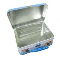 China Tin Lunch Box USA Long Rectangular Lunch Tin Box for Sales with Handle and Lock wholesale
