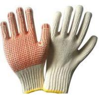 Wholesale Cotton glove White 60%polyester+40% cotton kintted glove with yellow dots glove from china suppliers