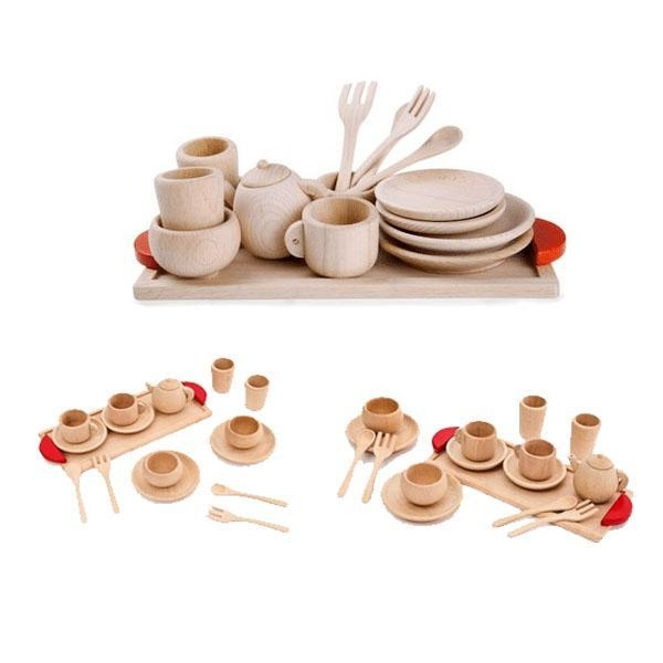 Toy Tea Set : Natural vintage wooden toys tea set of item