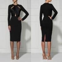 Wholesale Black / Red Casual Cut Out Bandage Dress Long Sleeve For Women from china suppliers