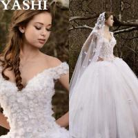 Wholesale Cap Sleeves Puffy Bridal Ball Gown Crystal Flowers Wedding Dresses Wd99 from china suppliers